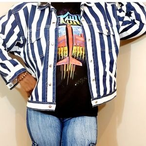 Vintage 80s  C.A. Sport Pinstripe Denim Jacket